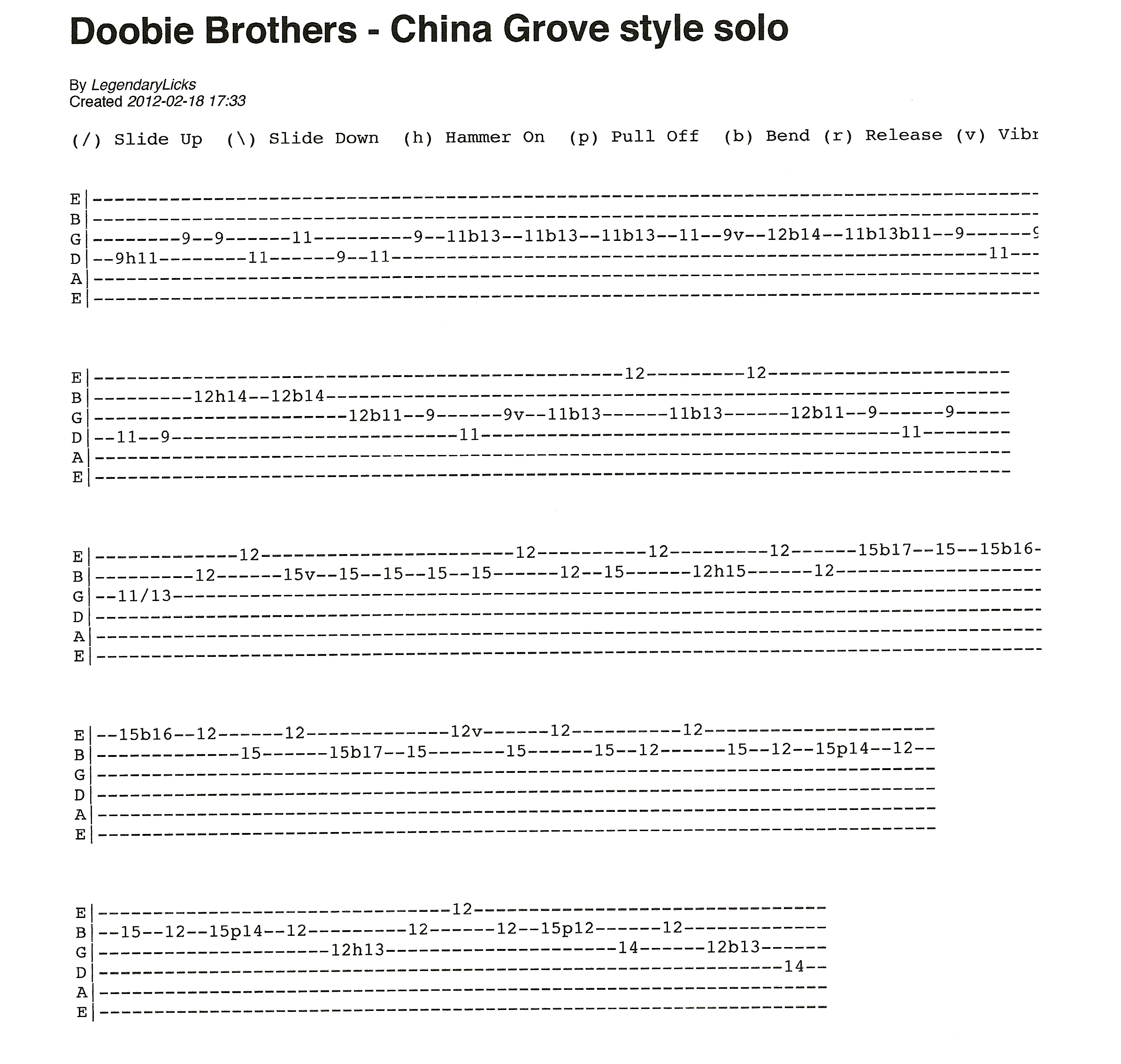Doobie brothers guitar chords images guitar chords examples doobie brothers china grove style solo with tablature rick doobie brothers fatherlandz images hexwebz Gallery