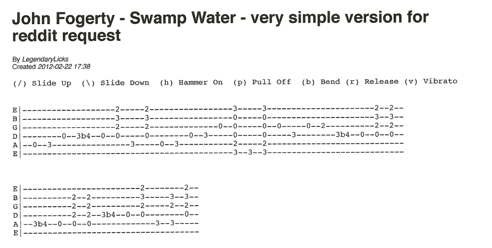 John Fogerty - Swamp Water - request from beginner (1/4)