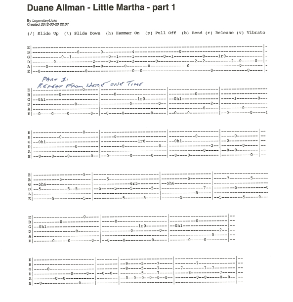 Duane Allman Little Martha Guitar Tab Part 1 page 1