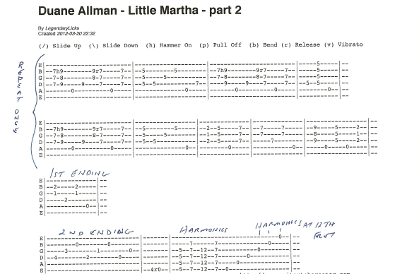 Duane Allman Little Martha Guitar Tab Part 2