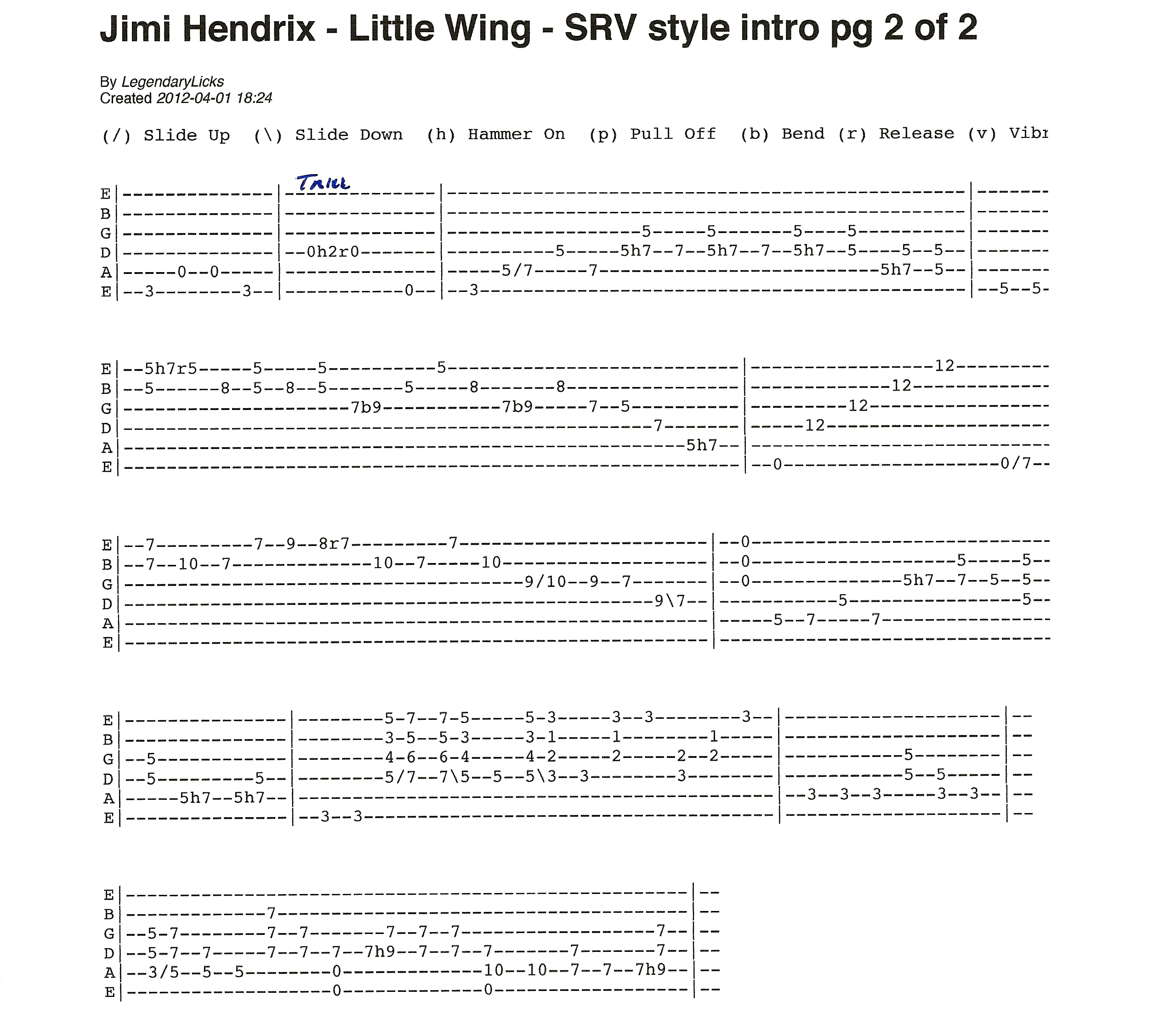 little wing solo guitar