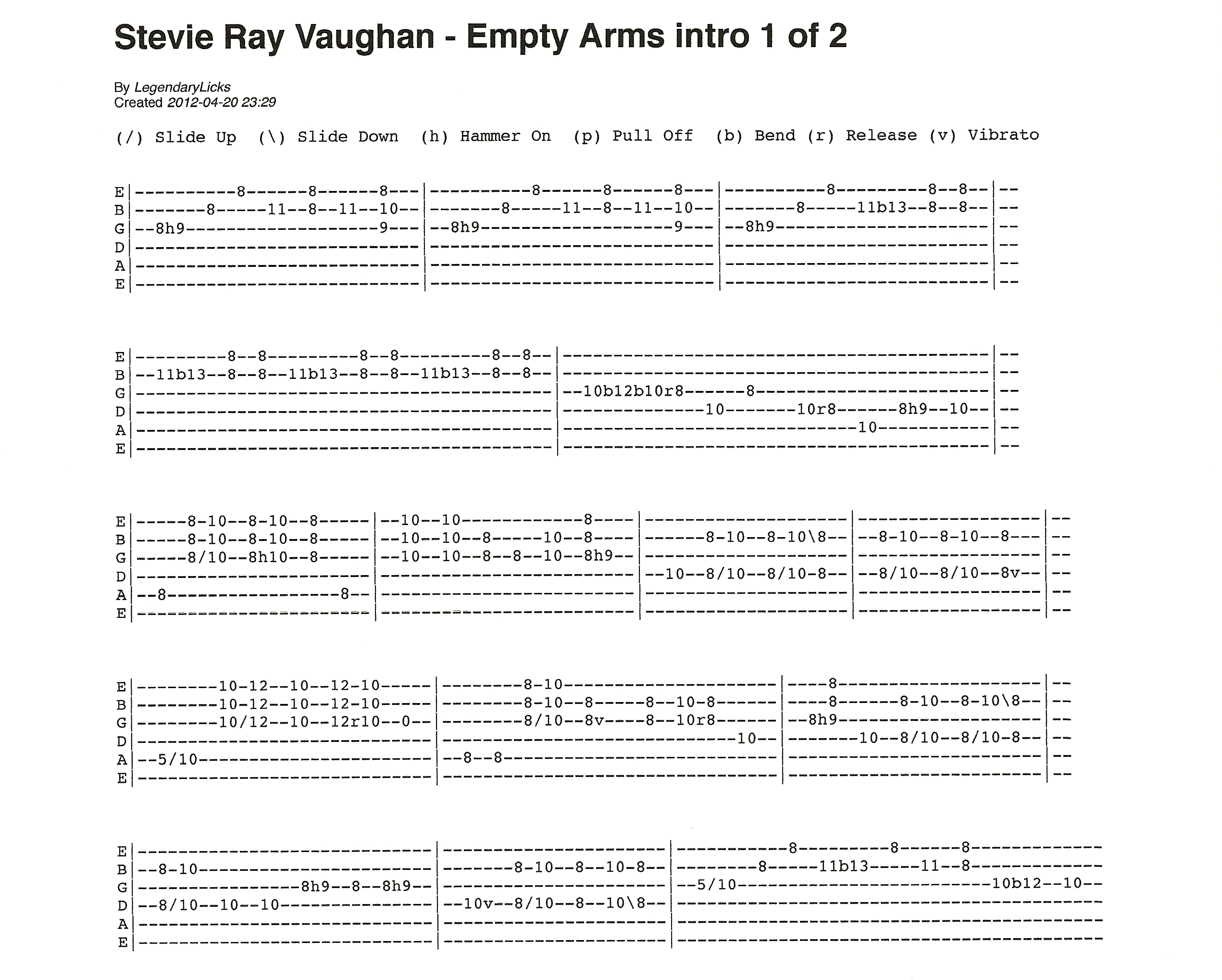 stevie ray vaughan empty arms intro with guitar tablature rick mccargar 39 s guitar licks. Black Bedroom Furniture Sets. Home Design Ideas