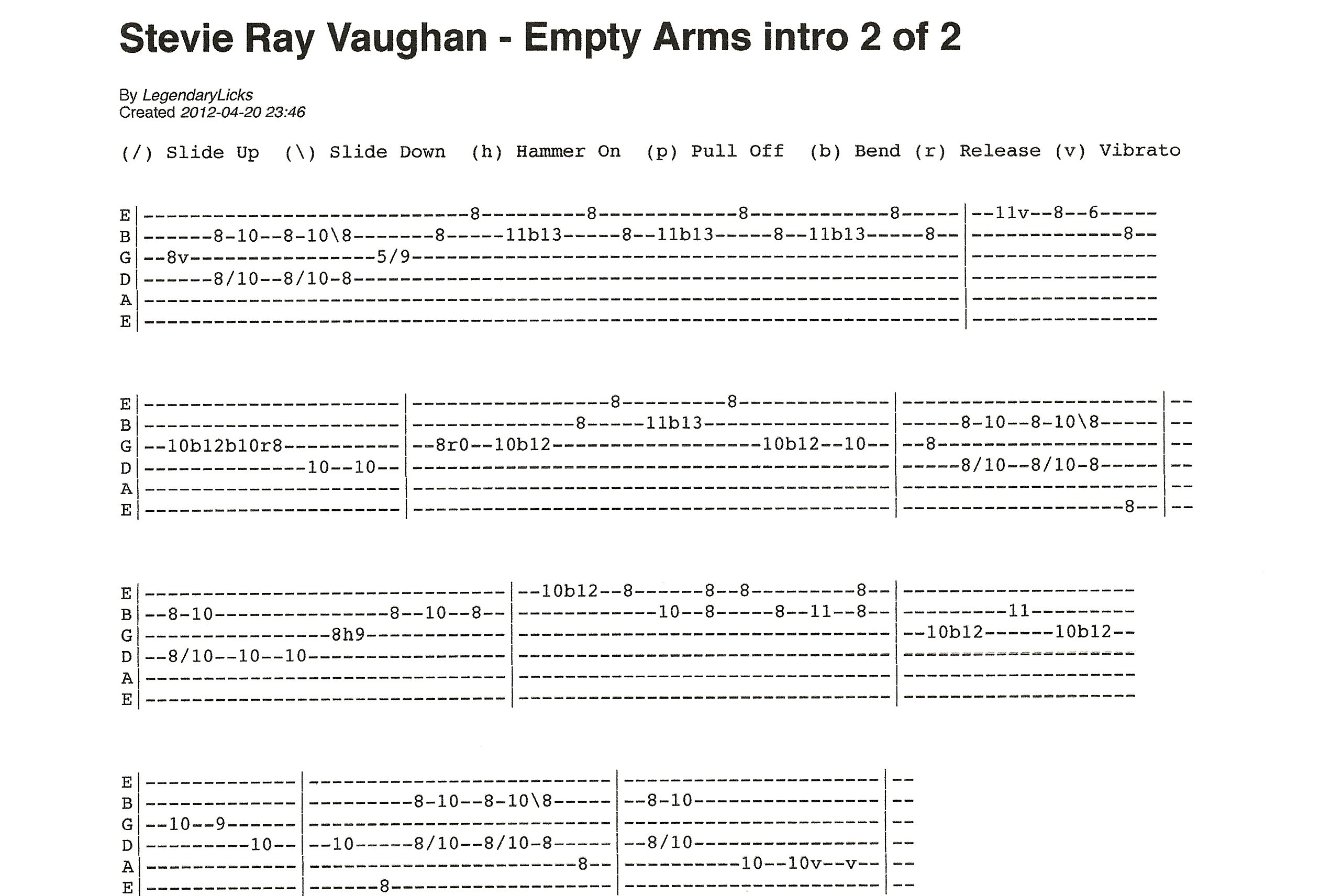 stevie ray vaughan empty arms intro guitar tablature 2 of 2. Black Bedroom Furniture Sets. Home Design Ideas