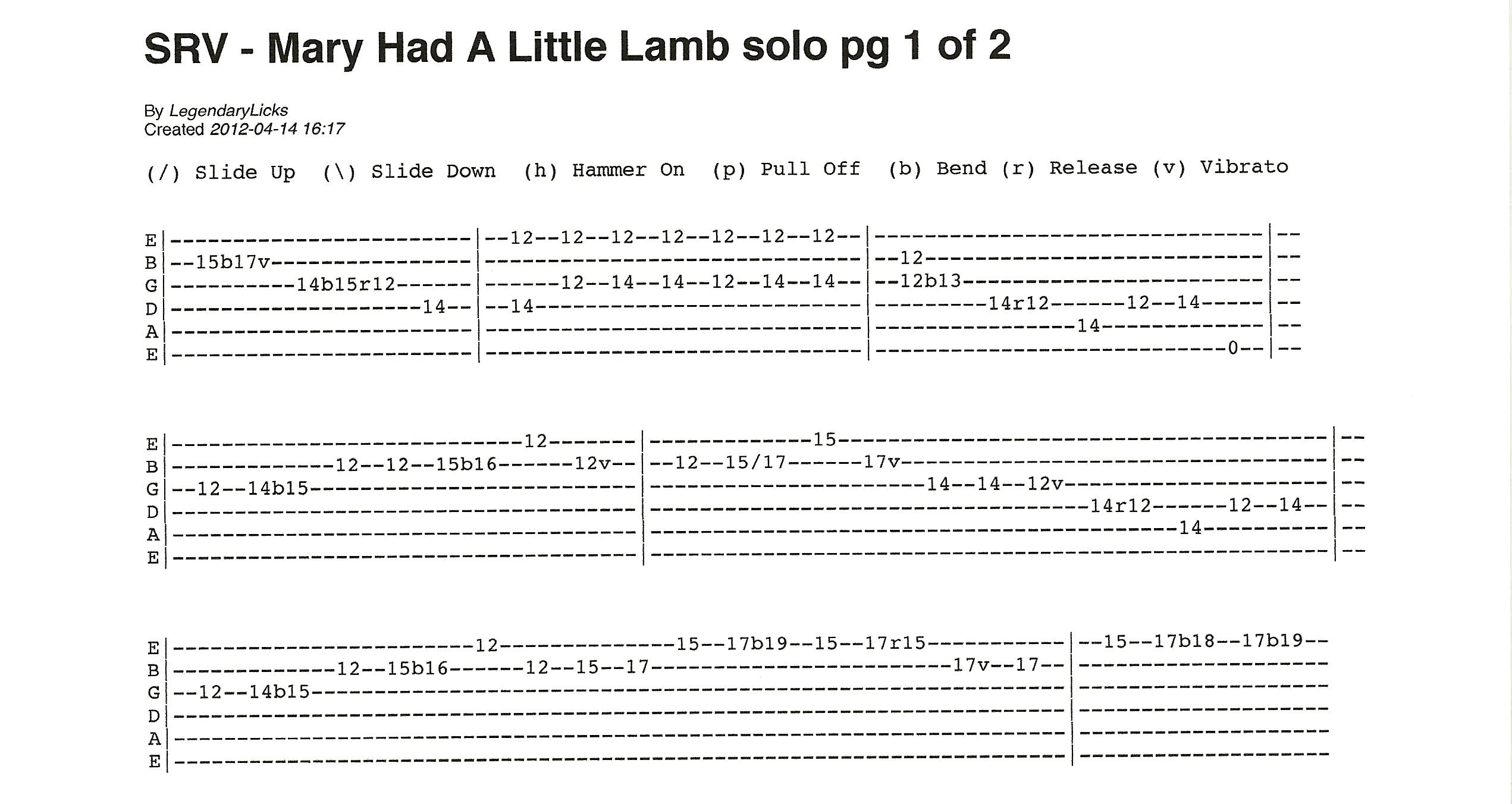 Mary Had A Little Lamb Rick Mccargars Guitar Licks Songs And