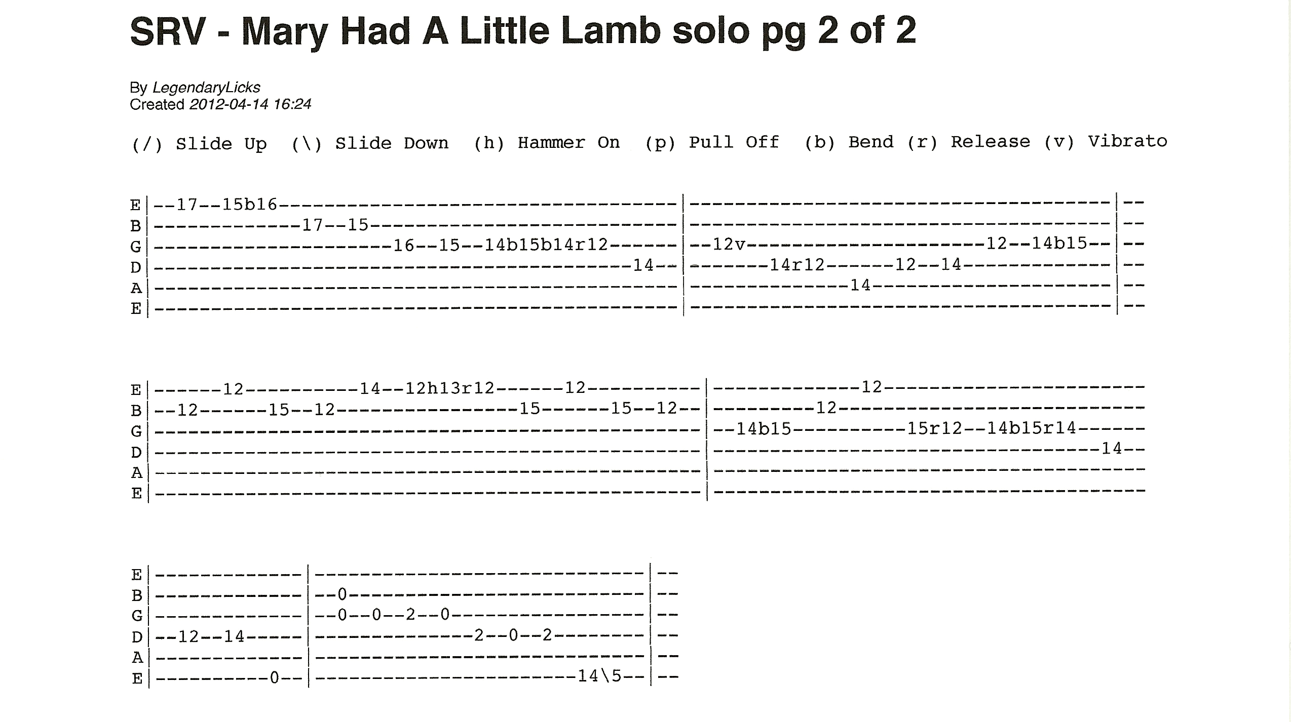 Stevie Ray Vaughan Mary Had A Little Lamb Solo And Ending With