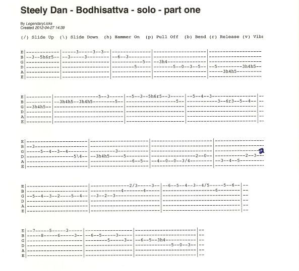 Steely Dan Bodhisattva guitar solo tab part one