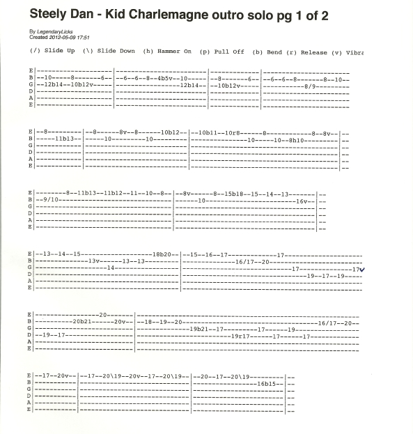 Steely Dan Kid Charlemagne outro solo guitar tab 1of2