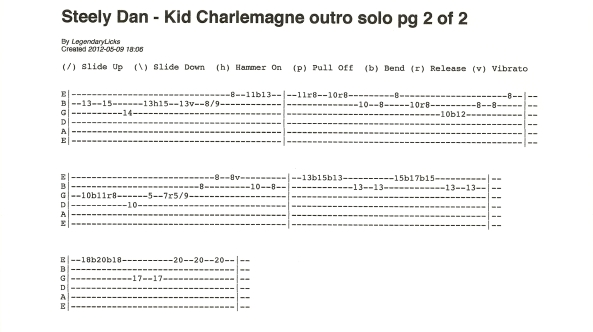 Steely Dan Kid Charlemagne outro solo guitar tab 2of2