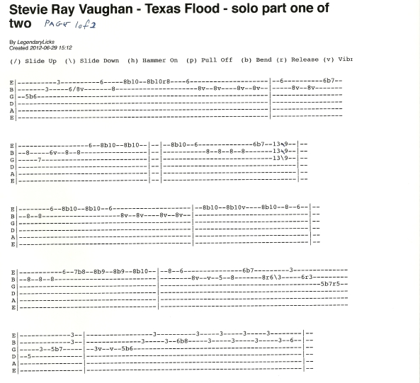 stevie ray vaughan texas flood solo part 1 of 2 with guitar tablature rick mccargar 39 s. Black Bedroom Furniture Sets. Home Design Ideas