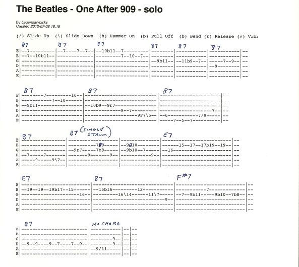 The Beatles One After 909 guitar solo tablature