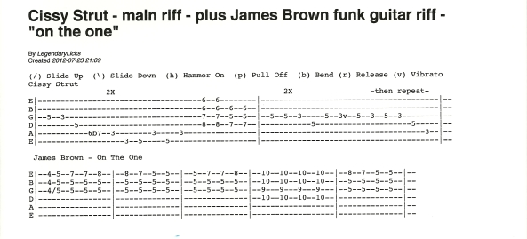 cissy-strut-main-riff-guitar-tab-and-james-brown-on-the-one