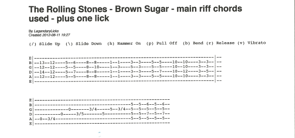 The Rolling Stones Brown Sugar main riff and chords used guitar tablature