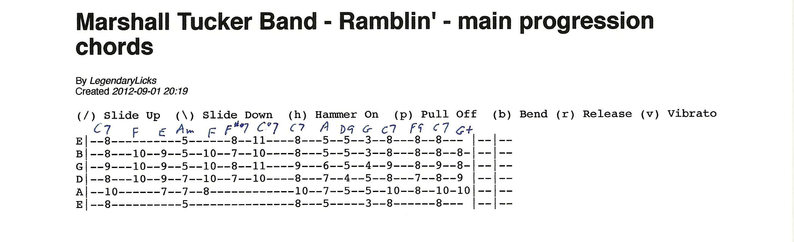 Marshall Tucker Band Ramblin Basic Guitar Chord Progression