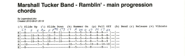 Marshall Tucker Band – Ramblin' – basic guitar chord progression