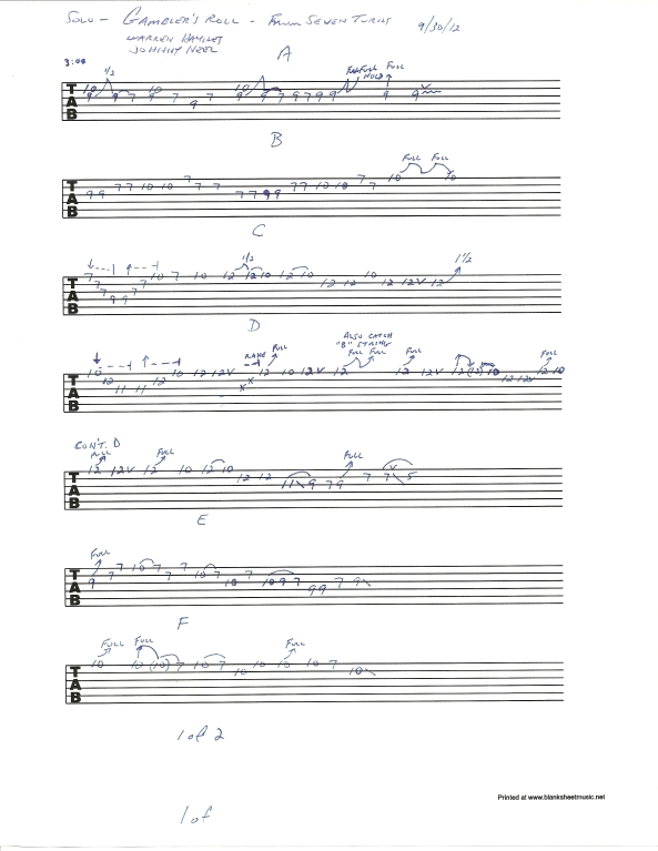 Allman Brothers Gambler's Roll guitar solo tablature 1 of 2