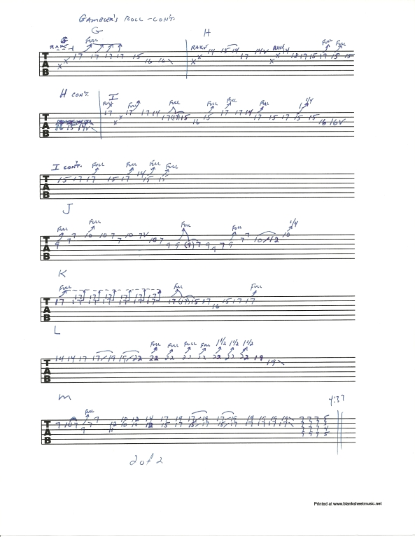 Allman Brothers Gambler's Roll guitar solo tablature 2 of 2