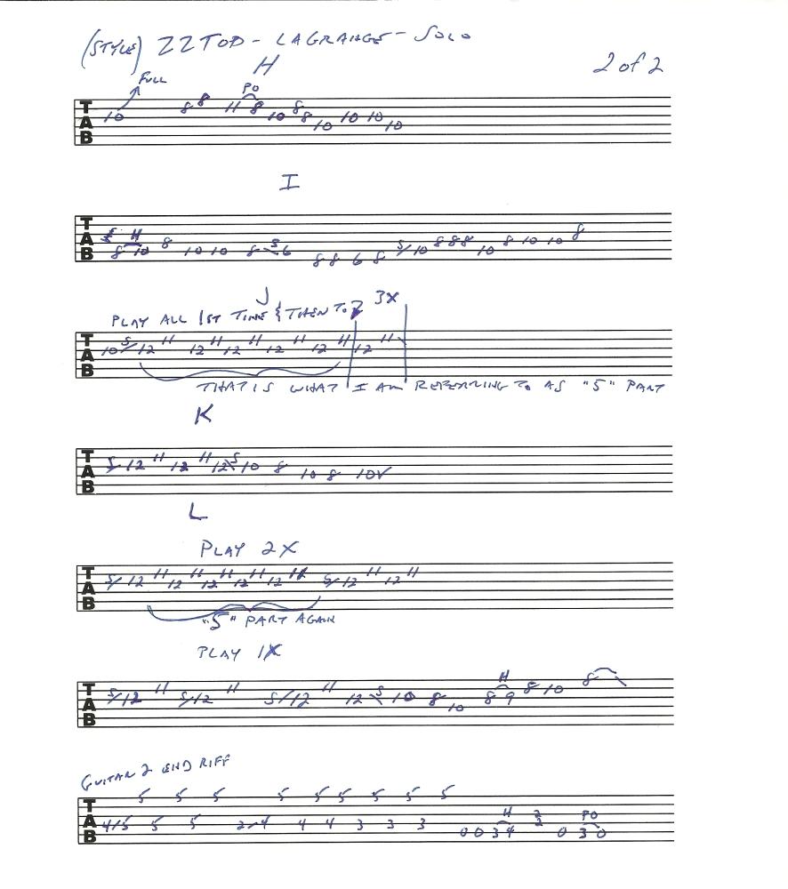 ZZ TOP La Grange - solo - guitar lesson with tab (2/6)