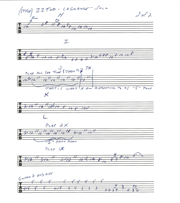 ZZ TOP La Grange guitar solo tab page 2of2