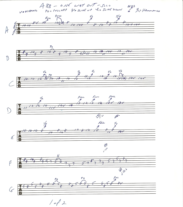 Allman Brothers Band One Way Out Guitar Solo tab page 1of2