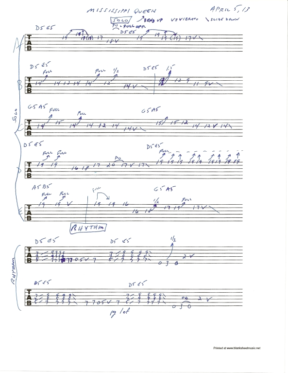 Mountain's Mississippi Queen guitar solo tablature 1of2