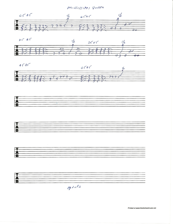 Mountain's Mississippi Queen guitar solo tablature 2of2