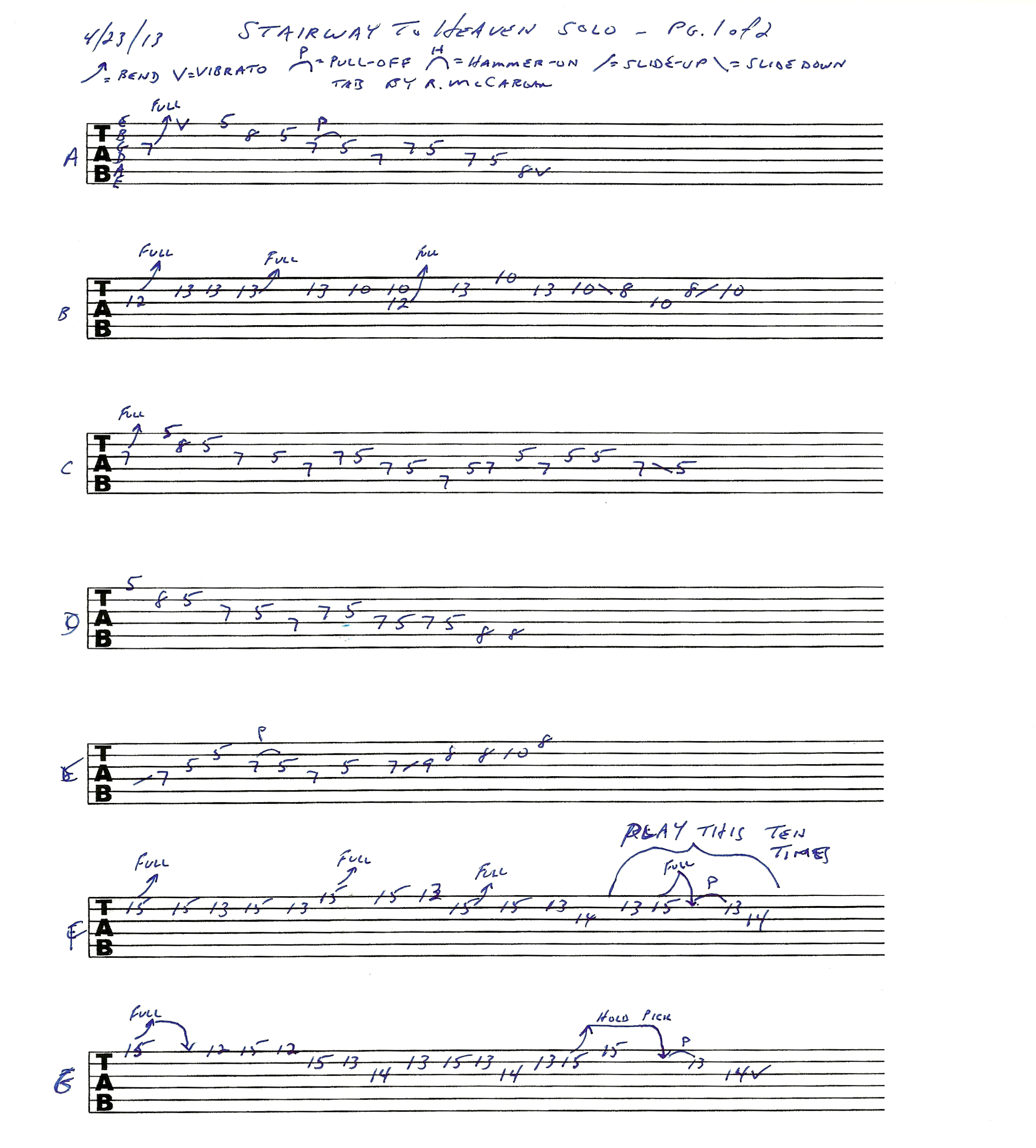 Led Zeppelin Stairway To Heaven solo guitar lesson with lick-by-lick demo and tab : Rick ...