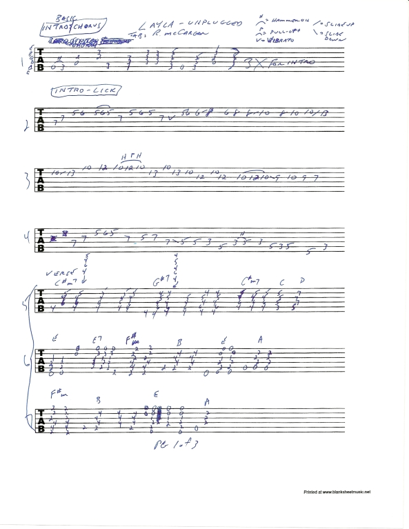 Eric Clapton Layla Unplugged guitar tab pg 1of3