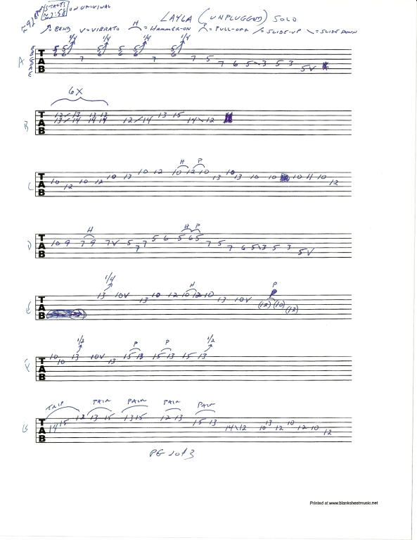 Eric Clapton Layla Unplugged guitar tab pg 2of3