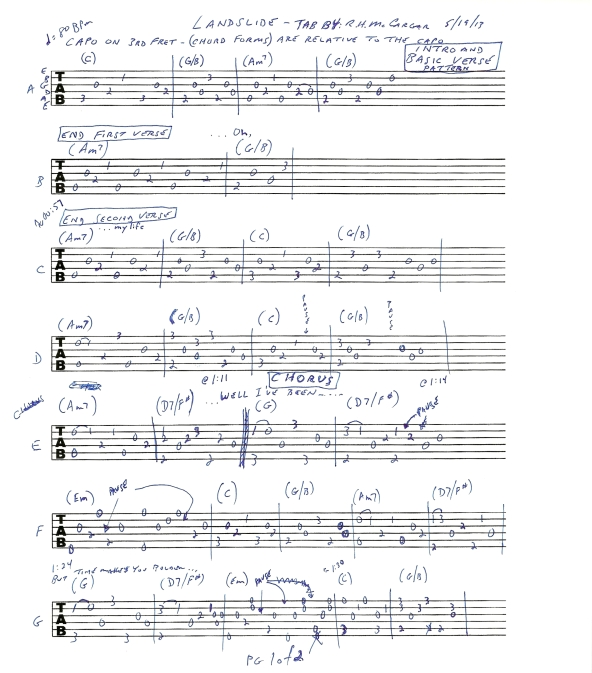 Fleetwood Mac Landslide guitar tab page 1of2