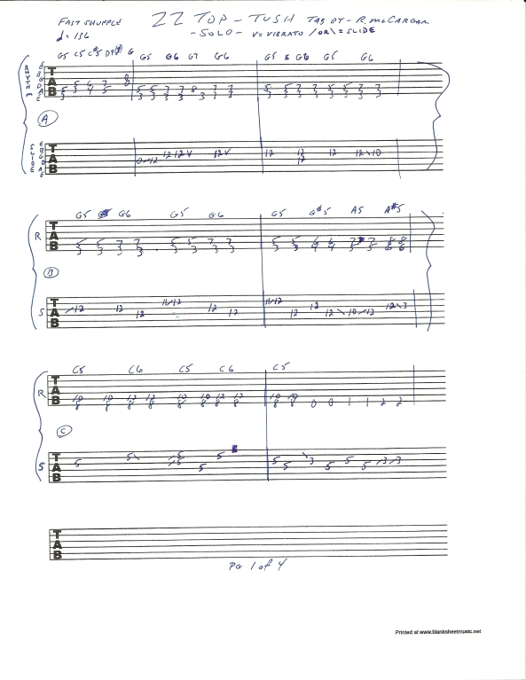 ZZ TOP TUSH slide guitar solo tab page 1of4