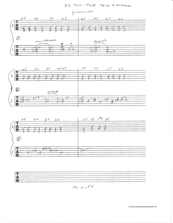 ZZ TOP TUSH slide guitar solo tab page 2of4