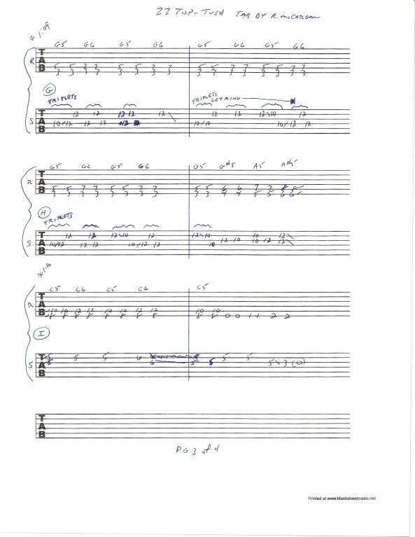 ZZ TOP TUSH slide guitar solo tab page 3of4