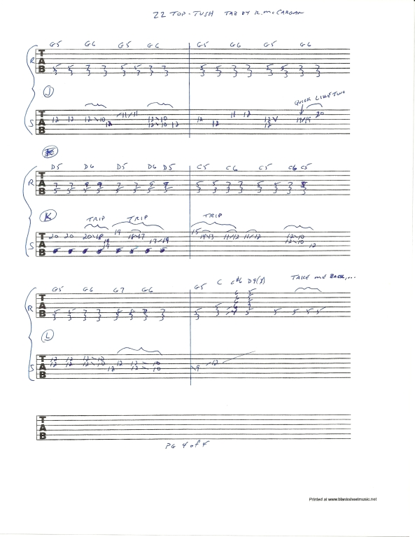 ZZ TOP TUSH slide guitar solo tab page 4of4