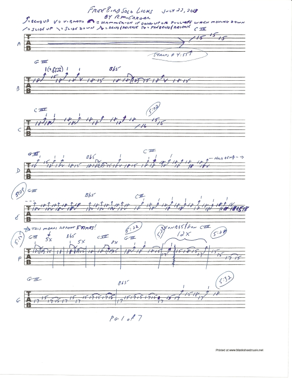 Lynyrd Skynyrd Free Bird guitar solo tab page 1of7