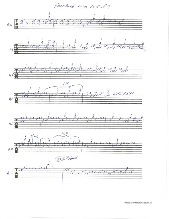 Lynyrd Skynyrd Free Bird guitar solo tab page 5of7