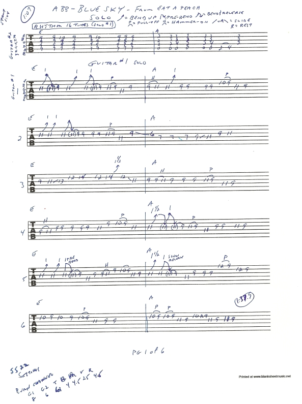 Allman Brothers - Blue Sky guitar solos tab 1 of 6