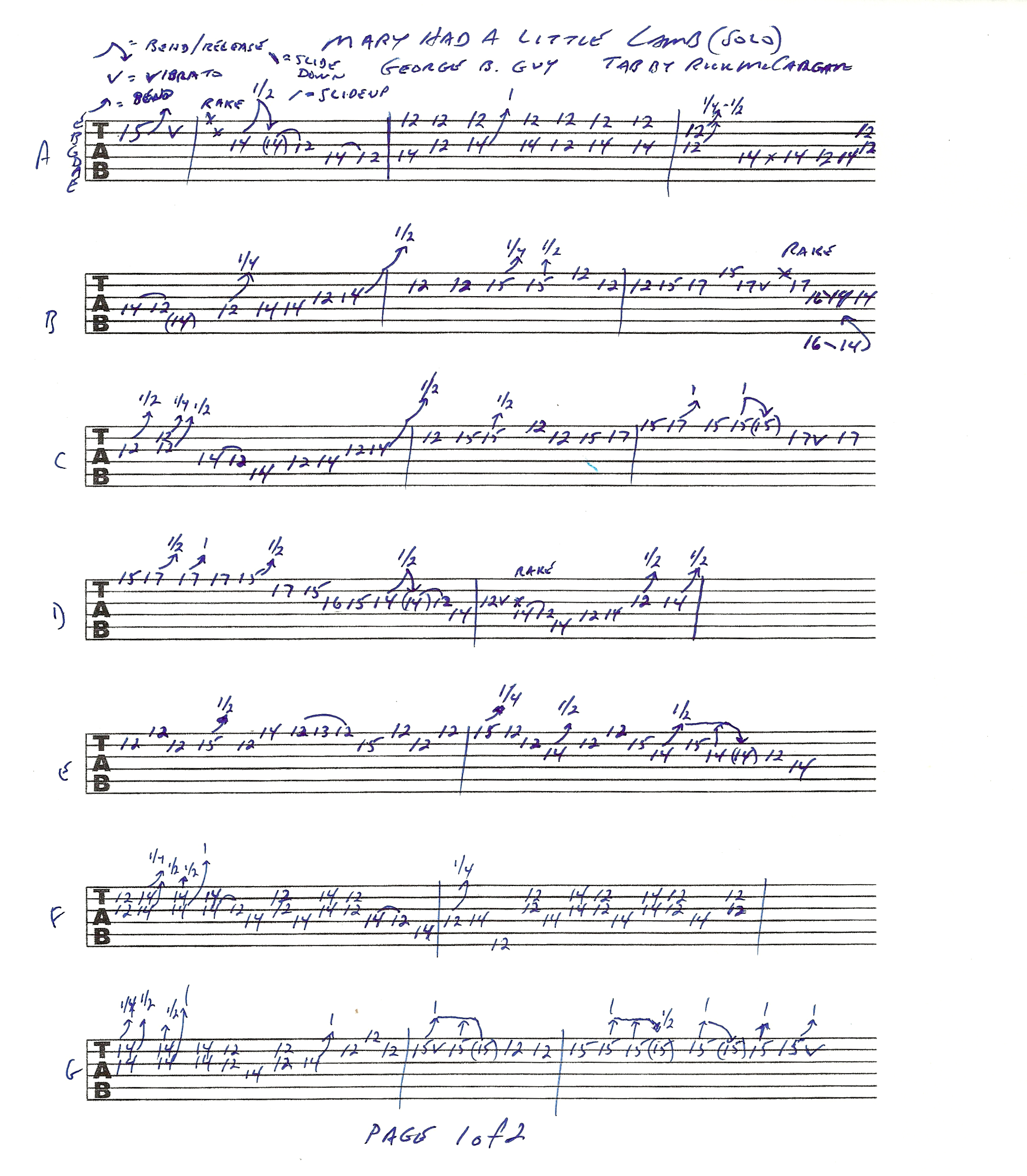 Stevie Ray Vaughan u2013 Mary Had A Little Lamb guitar lesson with tablature : Rick McCargaru0026#39;s ...