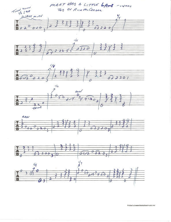 Stevie Ray Vaughan - Mary Had A Little Lamb guitar solo tab - intro