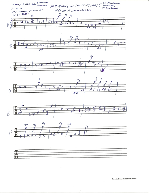 ZZ TOP My Head's In Mississippi solo guitar tab