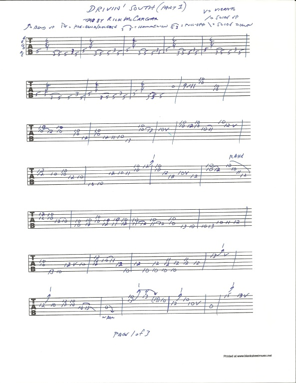 Jimi Hendrix Drivin South guitar tab pg 1 of 3