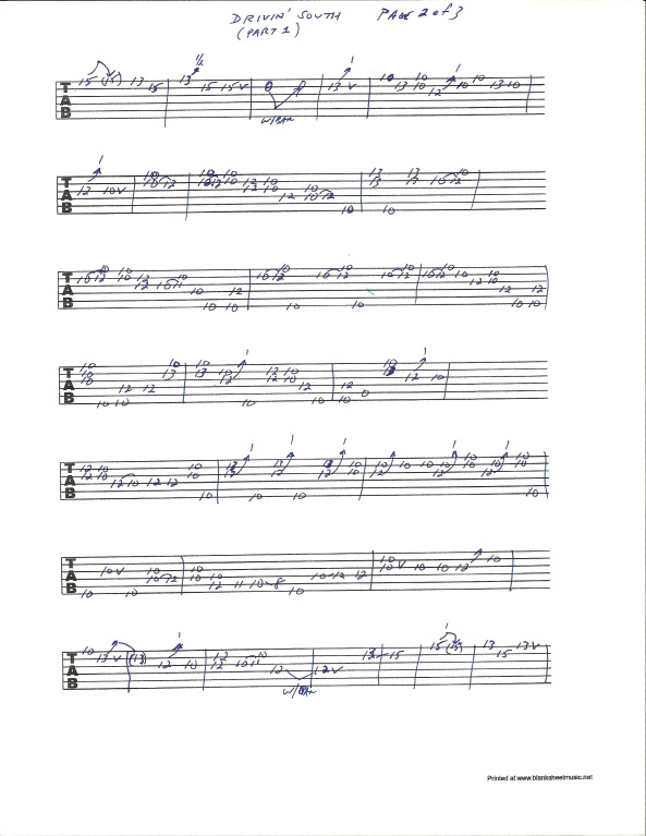 Jimi Hendrix Drivin South guitar tab pg 2 of 3