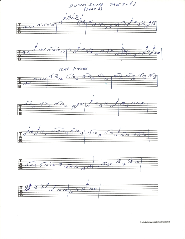 Jimi Hendrix Drivin South guitar tab pg 3 of 3