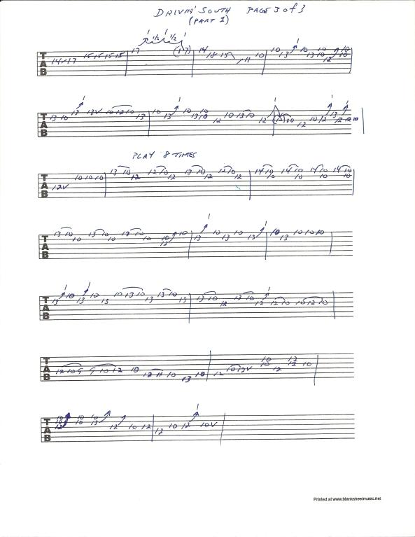 Jimi Hendrix Drivin South guitar tab pg 3 of 3