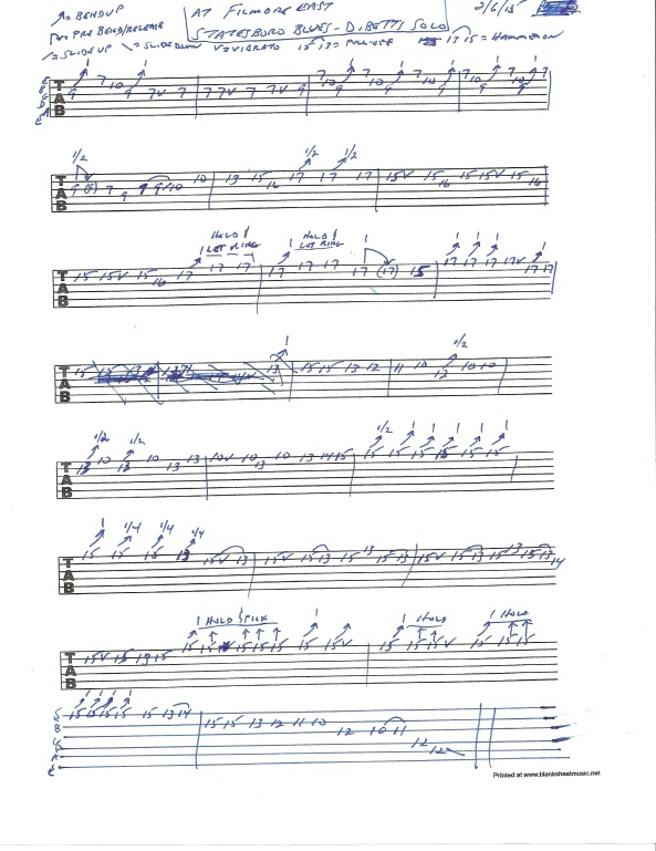 Allman Brothers Band - Statesboro Blues - Dickey Betts guitar solo tablature