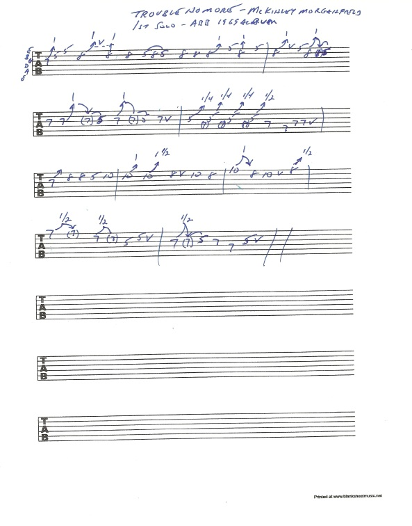 Allman Brothers Band 1969 Trouble No More 1st solo guitar tab