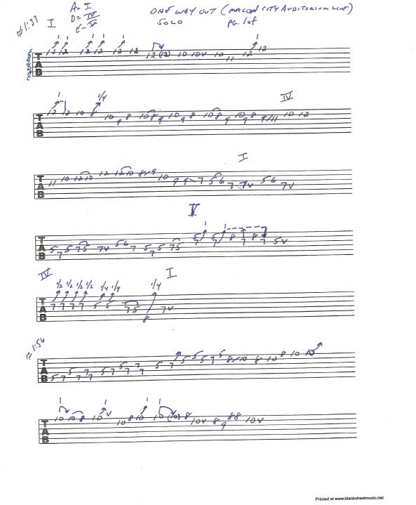 """Allman Brothers Band - Macon City Auditorium Concert version of """"One Way Out"""" solo section 1 - pg 1of2"""
