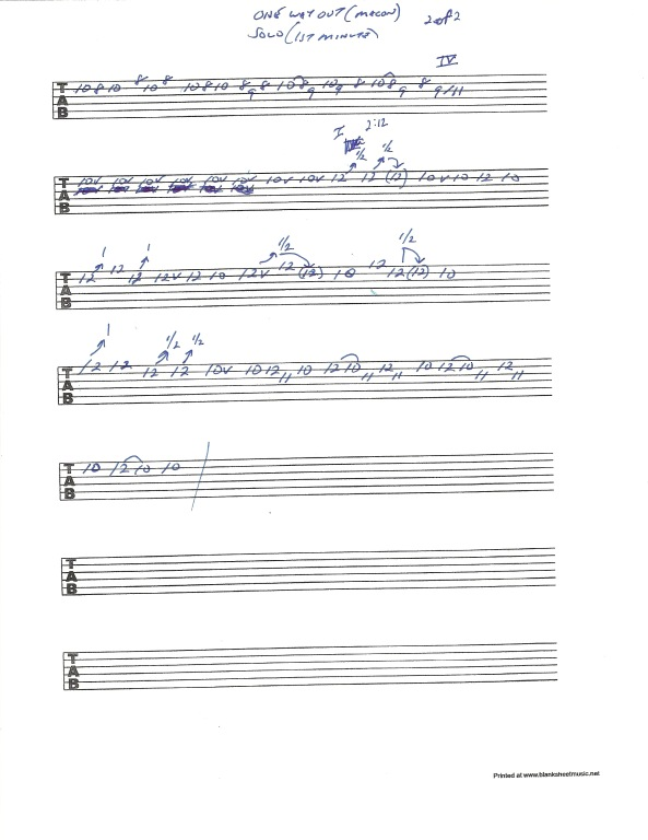 """Allman Brothers Band - Macon City Auditorium Concert version of """"One Way Out"""" solo section 1 - pg 2of2"""