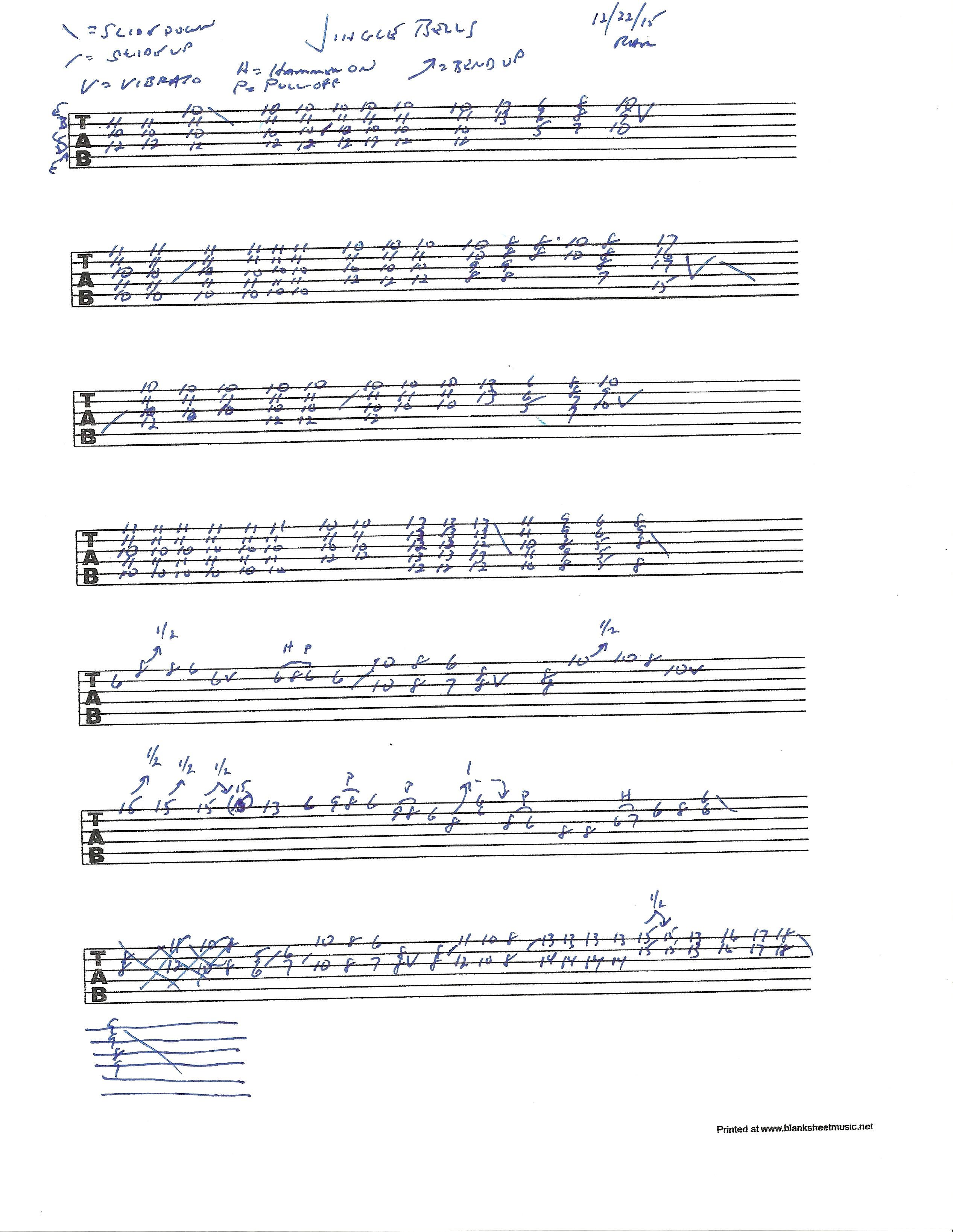 jingle bells guitar tab pdf