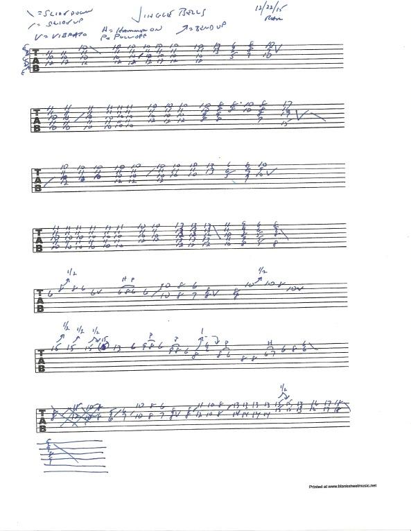 Guitar tablature for Jingle Bells - Brian Setzer swing style