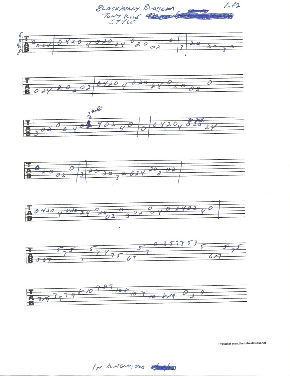 Guitar tablature for Blackberry Blossom in the style of Tony Rice - pg 1 of 2